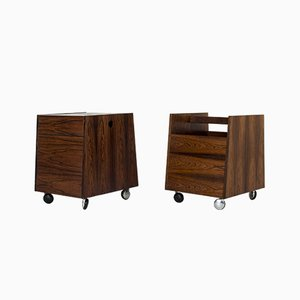 Rosewood Bar and Magazine Trolleys by Rolf Hesland for Bruksbo, 1960s, Set of 2
