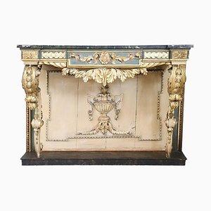 Table Console Antique Laquée Dorée, 1840s