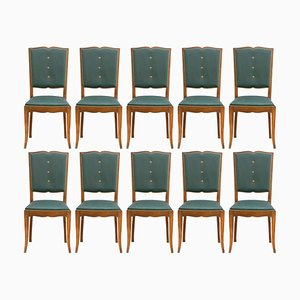 Art Deco French Moustache Back Dining Chairs, Set of 10