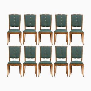Französische Art Deco Esszimmerstühle mit Rückenlehnen in Schnurbart-Optik, 10er Set
