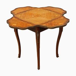 Tavolino pieghevole antico intarsiato