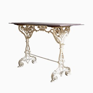 Antique Ornamental French Garden Table with Wooden Top