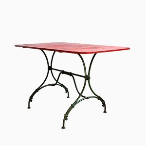 Antique Wrought Iron Garden Table with Metal Top, 1890s