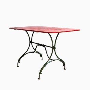 Tavolo da giardino in ferro battuto con ripiano in metallo, fine XIX secolo