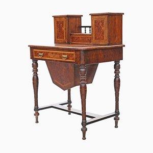 Antiker viktorianischer Werk- oder Schreibtisch aus Wurzel- & Nussholz, 1890er