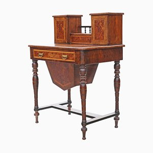 Antique Victorian Burr Walnut Work or Writing Table, 1890s