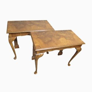 Queen Anne Style Burr Walnut Console Tables, 1920s, Set of 2