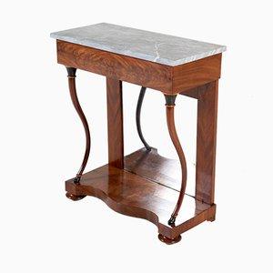 Table Console Biedermeier Antique en Acajou avec Plateau en Marbre, 1830s