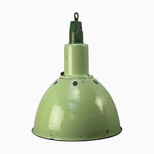 Vintage Industrial Cast Aluminium & Green Enamel Pendant