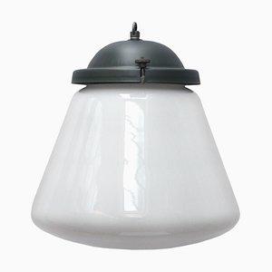 Vintage Industrial White Opaline Glass & Aluminum Pendant
