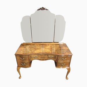 Queen Anne Style Burr Walnut Triple Mirror Dressing Table, 1920s
