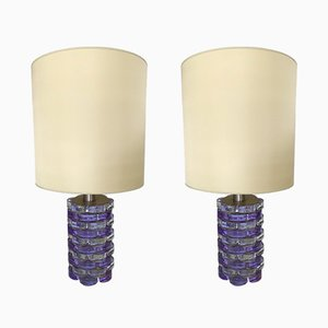 Italian Pressed Glass Lamps from Biancardi & Jordan Arte, 1970s, Set of 2