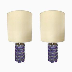 Lámparas italianas de vidrio prensado de Biancardi & Jordan Arte, años 70. Juego de 2