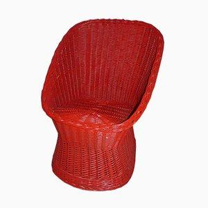 Silla auxiliar de mimbre rojo, años 70