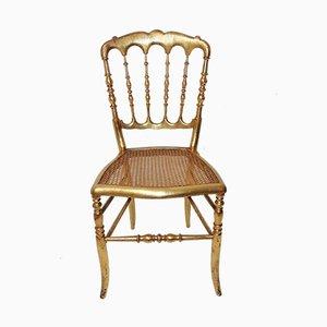 Chaise Napoléon Vintage en Bois Doré