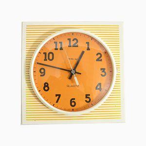 Reloj de pared vintage de plástico de Prim, años 70