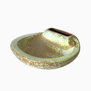 Large Mid-Century Swedish Lime Stoneware Shell Ashtray by Gunnar Nylund for Rorstrand