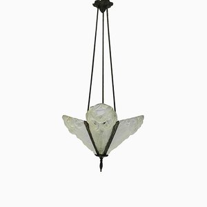Art Deco French Glass Pendant Light from Degue, 1930s
