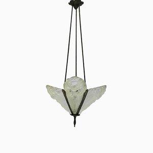 Lámpara colgante francesa Art Déco de vidrio de Degue, años 30