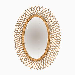 Espejo ovalado de ratán, años 50