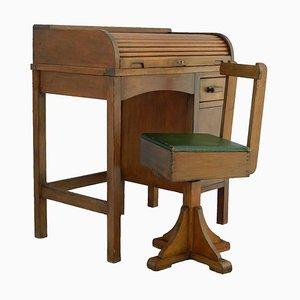 Art Deco Kinder Schreibtisch & Drehstuhl mit rollbarer Abdeckung, 1930er
