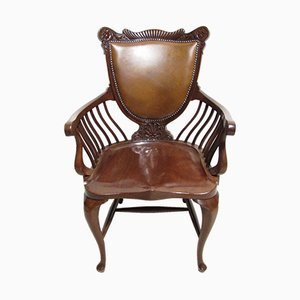 Mahogany and Leather Office Desk Chair, 1890s