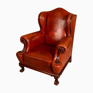 English Mahogany & Leather Wingback Armchair, 1890s