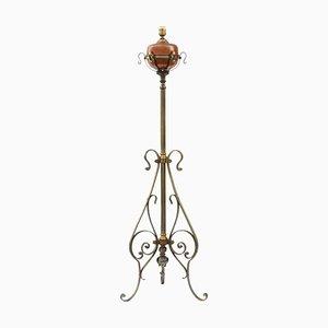 Lámpara de pie Arts & Crafts ajustable de acero y cobre, años 10