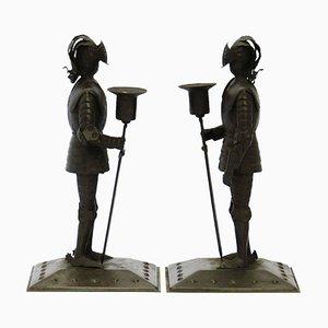 Antike handgefertigter Kerzenständer von Hugo Berger, 2er Set