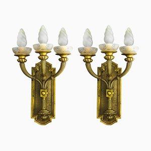 Lámparas de pared Art Déco de bronce, años 30. Juego de 2