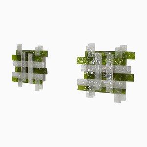 Apliques grandes de cristal de Murano de Poliarte, años 60. Juego de 2