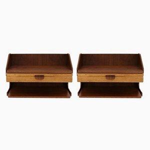 Mesas de pared escandinavas de teca y roble, años 60. Juego de 2