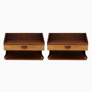 Scandinavian Teak & Oak Wall Mounted Shelves, 1960s, Set of 2