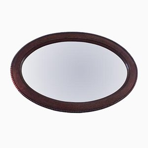 Vintage Oval Oak Mirror, 1920s