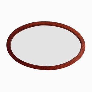 Ovaler Vintage Spiegel mit Rahmen aus Eiche