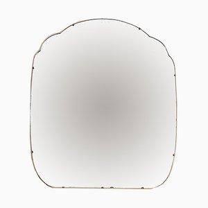 Großer Art Deco Spiegel mit gewölbten Kanten