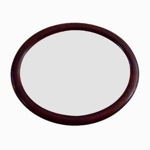Vintage Oval Mahogany Mirror, 1930s