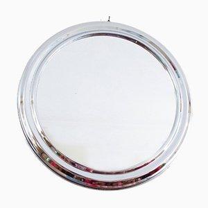Mid-Century Round Chrome Framed Mirror