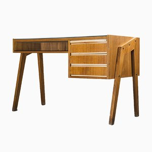 Vintage Walnut Desk with Glass Top, 1960s