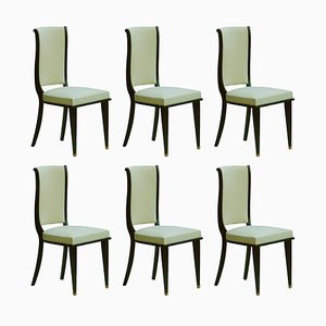 Vintage Art Deco Style French Dining Chairs, Set of 6
