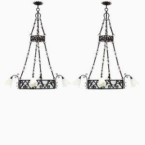 Lampadari Belle Epoque antichi, Francia, set di 2