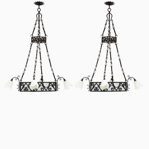 Large Antique French Belle Epoque Chandeliers, Set of 2