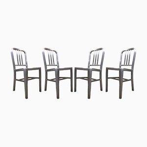 Chaises de Salle à Manger Industrielles Mid-Century en Aluminium, Set de 4