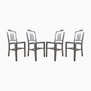 Mid-Century Industrial Aluminium Dining Chairs, Set of 4
