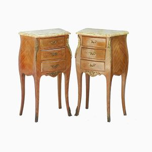 French Tulip Wood Side Cabinets, 1920s, Set of 2