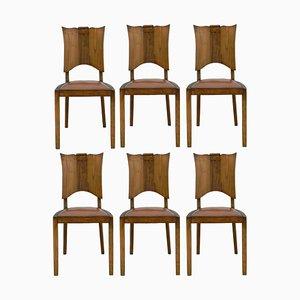 Französische Mid-Century Esszimmerstühle aus Nussholz, 6er Set