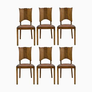 French Mid-Century Walnut Dining Chairs, Set of 6