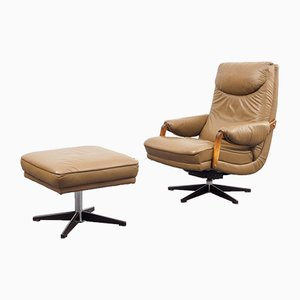 Leather Lounge Chair & Ottoman, 1970s