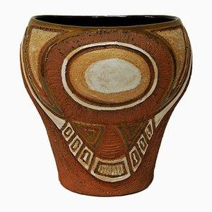 Vaso rustico in ceramica di N. Karlsen per Hank Keramikk, anni '50