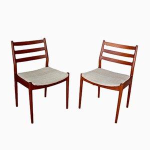 Dänische Mid-Century Esszimmerstühle aus Teak von Arne Vodder für France & Son, 2er Set